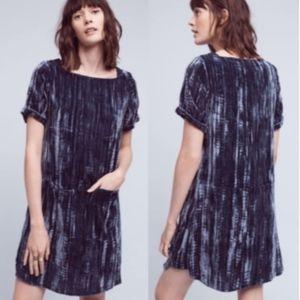 Anthro Floreat crinkled velvet blue tunic dress
